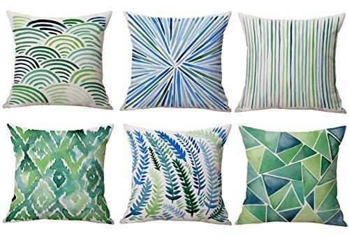 Fundas para cojín, 6 o 4 piezas, duraderas, de algodón y lino, decorativas, para cojín cuadrado de 45 x 45cm (18 pulgadas x 18 pulgadas)., algodón, lino, Green Series, talla única
