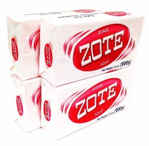Zote Pink Laundry Soap Bar Stain Remover Catfish Bait - 4 Bars 7 Oz (200g) Each by Zote