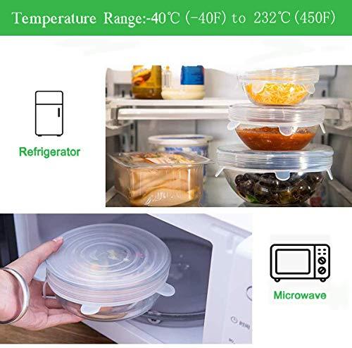 Horno y Congelador Microondas sin BPA Lavavajillas IHUIXINHE Juego de 6 Fundas de Silicona El/ásticas para Alimentos Cubiertas para Tazones y Tapas de Comida