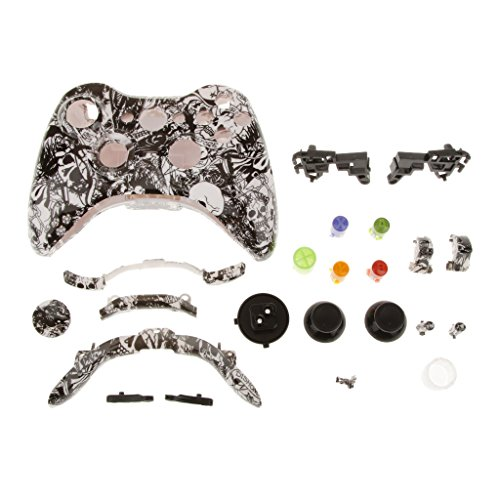 remplacement-cas-shell-kit-complete-boutons-pour-xbox-360-manette-tombe-crane-blanc