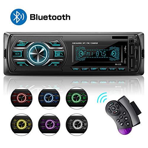 Autoradio mit Bluetooth Freisprecheinrichtung, MEKUULA 1DIN Autoradio MP3, Stereo Auto Radio, USB/TF/AUX/FM/Mikrofon/MP3-Player Receiver, SWC Fernbedienung, 7 Farben Einstellbar, LCD Bildschirm