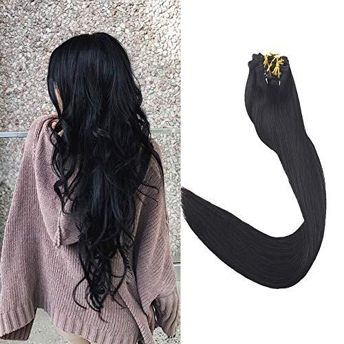 Full Shine Clip in Haarfarbe # 1 Jet Black 18 Zoll 120 Gramm Echthaar Clip in Extensions Remy Solid Color Haarverlängerungen 9Pcs Pro Set Hochwertiges Echthaar