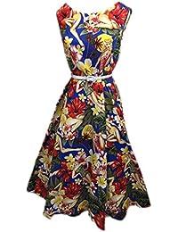 BOOLAVARD Rockabilly Robe d'Audrey Hepburn 1950's Femmes + Sac à Linge + Cadeau / Cabas