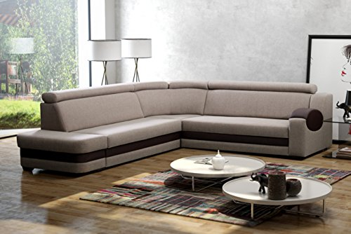 große Ecksofa Sofa Eckcouch Couch mit Schlaffunktion und Bettkasten mit Hocker Ottomane L-Form Schlafsofa Bettsofa Polstergarnitur Wohnlandschaft – Denver