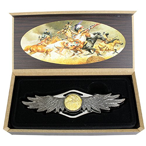 TheBoneEdge Adler Muster Griff Doppelt Seite Klinge Falten Messer mit Geschenk-Box -