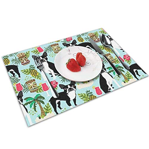 Hall Tree Set (ghkfgkfgk Boston Terrier, Palm Trees Summer Holiday Placemats Set of 4 for Dining Table Washable Placemat Non-Slip Heat Resistant Kitchen Table Mats Easy to Clean)
