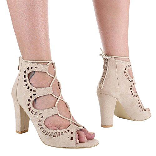 Damen-Schuhe Sandaletten | elegante High-Heel mit Blockabsatz in verschiedenen Farben und Größen | Schuhcity24 | Pumps mit Schnürung | mit Reißverschluss Beige