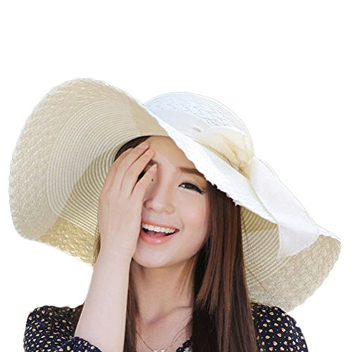 Nanxson(TM) Femme Chapeau De Paille/Soleil /Bob À Large Bord Nœud Papillon Chic Elégant Anti-UV/Antisolaire MZW0051 Blanc