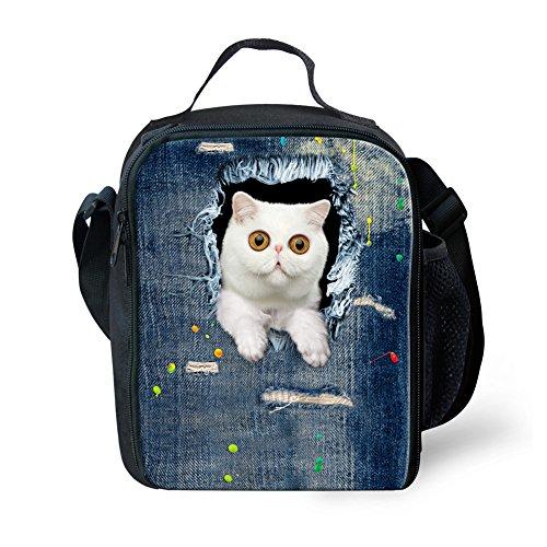 Denim Shoulder Tote (HUGSIDEA Vintage Denim Animal Cat Printed Tote Shoulder Insulated Lunch Bags by HUGSIDEA)