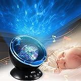 Luce Proiettore, Infreecs Lampada di Illuminazione Notturna Oceano Luce con MP3 Altoparlante notturna per Bambino,Compleanno, Halloween, Natale (Nero)