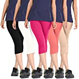 Premium Cotton Lycra Bio-Washed Stretchable Capri For Women/Girls/Ladies In Combo Pack Of 5 - Free Size