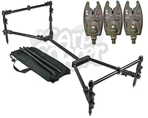 NGT Karpfen Angeln Nomaden Compact schwarz Rod Pod Bank Stick & Buzzer Bars mit 3Bissanzeiger inkl. Tragetasche