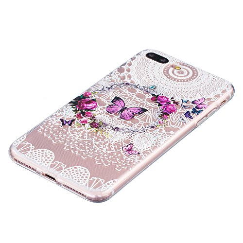 Etsue Transparent Handyhülle für iPhone 7 Plus Silikon Schutzhülle, Bunte Crystal Case Hülle Blumen Flower Schmetterling Wolf Muster Malerei TPU Case Kirstall Clear Case Durchsichtig Kratzfeste Bumper lila Schmetterling,Rose Blume