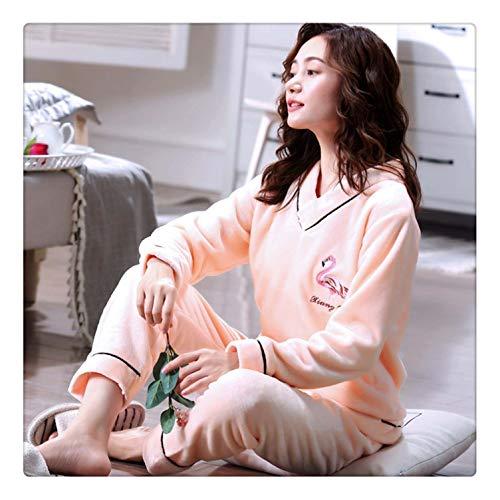 Winter Warm Flannel Elegant Women Sleepwear Pajamas Lady Cartoon Red Pajama Set Pullover Coral Fleece Pijamas Mujer Home Suits Shown9 M