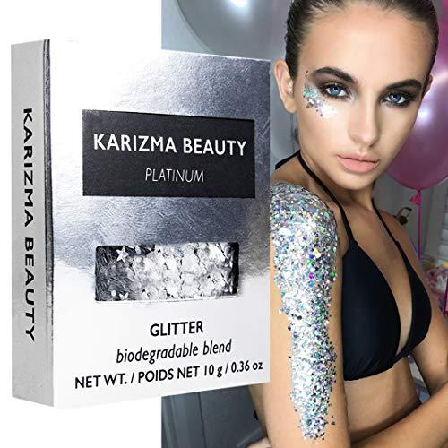 Biologisch Abbaubarer Klobiger Glitzer in Platin // Karizma Beauty Silber Gesicht glitzern Bio-Glitter Eco Glitter Festival 8g
