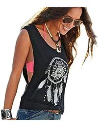 Tongshi Las mujeres sin mangas Impreso Dreamcatcher tapas de la cosecha del tanque del chaleco de la camisa camiseta
