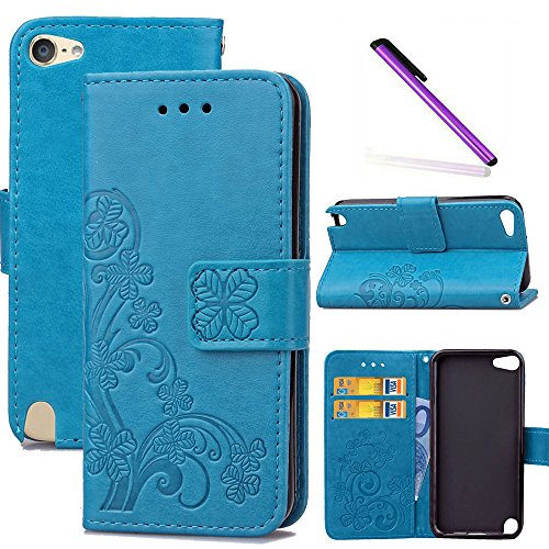 COTDINFOR iPod touch 6 Hülle für Mädchen Elegant Retro Premium PU Lederhülle Handy Tasche im Bookstyle mit Magnet Standfunktion Schutz Etui für iPod touch 6/5 Clover Blue SD.