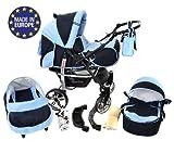 Sportive X2 - Sistema de viaje 3 en 1, silla de paseo, carrito con capazo y silla de coche, RUEDAS GIRATORIAS y accesorios (Sistema de viaje 3 en 1, azul marino, azul)