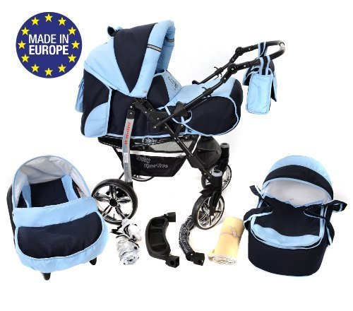 Sportive X2, 3-in-1 Travel System incl. Baby Pram with Swivel Wheels, Car Seat, Pushchair & Accessories (3-in-1 Travel System, Navy-Blue & Blue)  3 in 1 Travel System All in One Set - Pram, Car Carrier Seat and Sport Buggy + Accessories: carrier bag, rain protection, mosquito net, changing mat, removable bottle holder and removable tray for your child's bits and pieces Suitable from birth, Easy Quick Folding System; Large storage basket; Turnable handle bar that allows to face or rear the drive direction; Quick release rear wheels for easy cleaning after muddy walks Front lockable 360o swivel wheels for manoeuvrability , Small sized when folded, fits into many small car trunks, Carry-cot with a removable hood, Reflective elements for better visibility 1