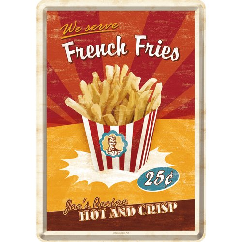 Nostalgic-Art 10256 USA French Fries, Blechpostkarte, 10 x 14 cm