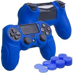 YoRHa Perfekter Griff Kein Geruch Silikon Hülle Abdeckungs Haut Kasten für Sony PS4/slim/Pro Controller x 1 (blau) Mit Pro aufsätze thumb grips x 8