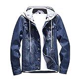 HULKY Soldes Uomo Denim Felpe Cappuccio Giacca Pullover Elegante Manica  Lunga Pure Color Slim Outwear Cappotto 03c4ea16bcd4