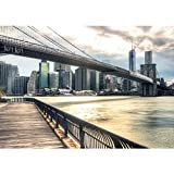 Vlies Fototapete PREMIUM PLUS Wand Foto Tapete Wand Bild Vliestapete - NEW YORK BROOKLYN BRIDGE SKYLINE - New York USA Skyline Sephia Brooklyn Bridge NYC - no. 043, Größe:300x210cm Vlies