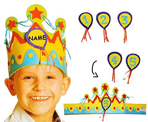 Filz - Krone - Größen VERSTELLBAR - incl. Name - für Kinder & Erwachsene - mit Zahlen - grün & blau - Geburtstagskrone / Kindergeburtstag - lustiger Partyartikel - Königskrone (Verstellbar König Krone Erwachsene)