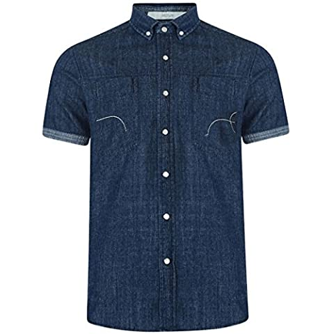 Men's Crosshatch Chest Pockets Denim Designer Shirt Short Sleeve Classic Top Size XS Denim Blue