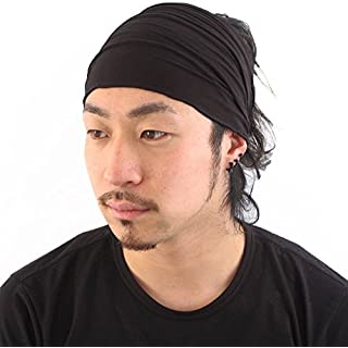 Black Japanese Bandana Headbands for Men and Women – Comfortable Head Bands with Elastic Secure Snug Fit Ideal Runners Fitness Sports Football Tennis Lightweight M