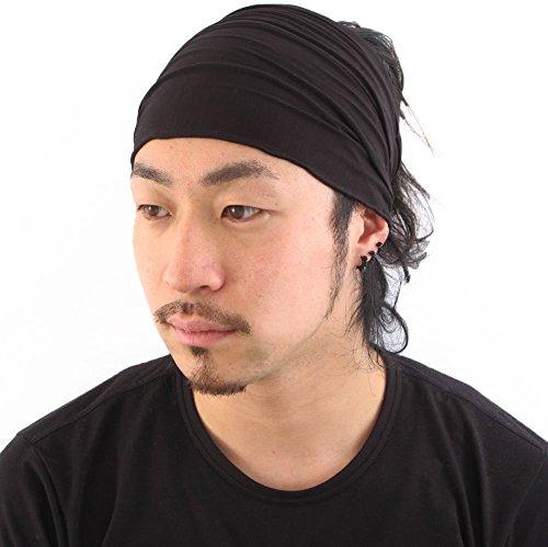 casualbox-men-head-cover-band-bandana-stretch-hair-style-japanese-black