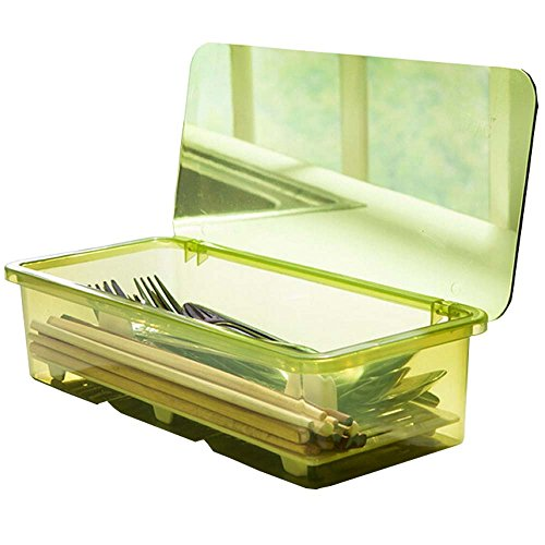 AIYoo Kitchen Drawer Organizer Flatware Tray With Lid And Drainer Plastic For Cooking Utensils Bathroom Vanities Storage Container Clear Box With Cover (Green)