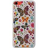 Mocca Design CI5C07 Coque en caoutchouc pour iPhone 5C Motif Papillon Blanc