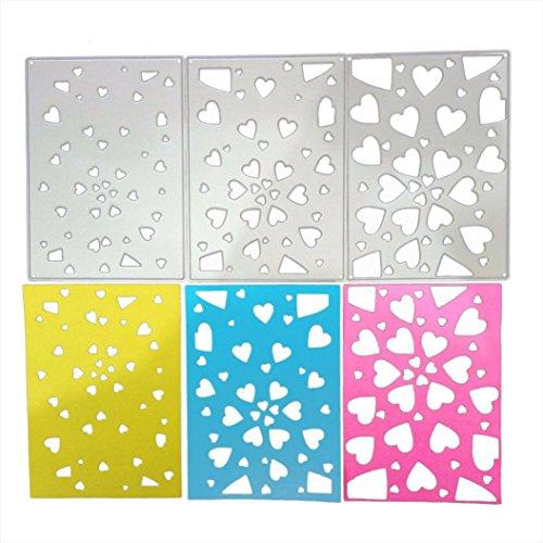 squarex Metall Formen Schablone DIY Scrapbooking Prägung Album Papier Karte Lovely Craft Geschenk, Karbonstahl, Three die cutters, AS SHOW