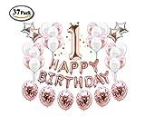 ICheap Palloncini Compleanno oro rosa 37 Pezzi, Happy Birthday Palloncini, 1st Decorazione di Compleanno Bambina Ideale per Compleanno, Baby Shower, Feste, Decorazioni Principali, Festoni Compleanno