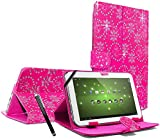 """ENTITY®: Bling PINK 7"""" Universal Faux Leather Stand Flip Case Cover For All 7 inch Tab Andriod Tablet PC / Apad Mid Netbook / Galaxy Tab 2 Tab 3 & Tab 4 / HDX / eBook Reader / Nexus & Nexus FHD / Dell Streak / Tesco Hudl / Allwinner / GoTab - Executive Fine Quality Case For 7"""" tablet + Free Stylus Pen - * FREE SHIPMENT IN THE UK *"""