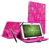 ENTITY®: Bling PINK 7' Universal Faux Leather Stand Flip Case Cover For All 7 inch Tab Andriod Tablet PC / Apad Mid Netbook / Galaxy Tab 2 Tab 3 & Tab 4 / HDX / eBook Reader / Nexus & Nexus FHD / Dell Streak / Tesco Hudl / Allwinner / GoTab - Executive Fine Quality Case For 7' tablet + Free Stylus Pen - * FREE SHIPMENT IN THE UK *