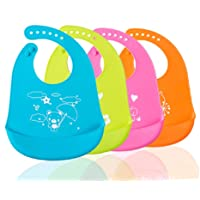 TREXEE 1pc Silicone Feeding Bib Adjustable Snaps, Waterproof, Washable, Stain and Odor Resistant Soft, Unisex, Non Messy Bib with Food Catcher Pocket for Feeding Infants and Toddlers
