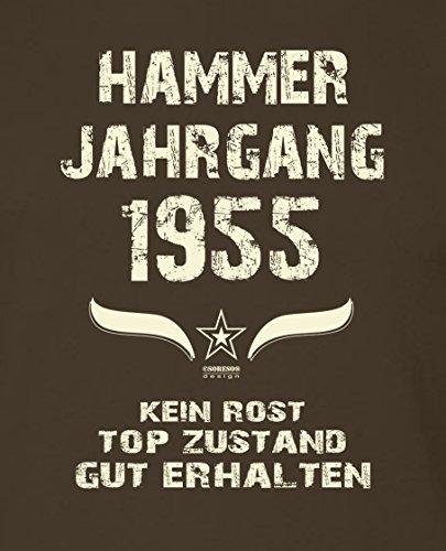 Modisches 62. Jahre Fun T-Shirt zum Männer-Geburtstag Hammer Jahrgang 1955 Ideale Geschenkidee zum Jubeltag Farbe: braun Braun