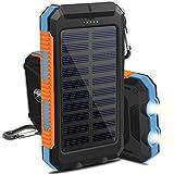 OKE 10000mAh Solar Power Bank, Solar Ladegerät, Externer Akku mit superhelle Taschenlampe, Akku pack für Handy ( blau, schwarz und orange)