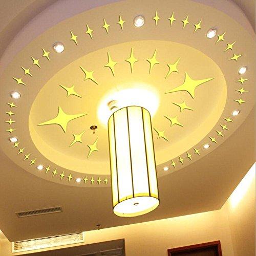 PLZY Stern-Spiegel-Aufkleber DIY steuern Dekor-Kunst-Dekoration Deckenleuchte Wohnzimmer Schlafzimmer Badezimmer Selbstklebende Removable Acryl Gold Silber, Gold