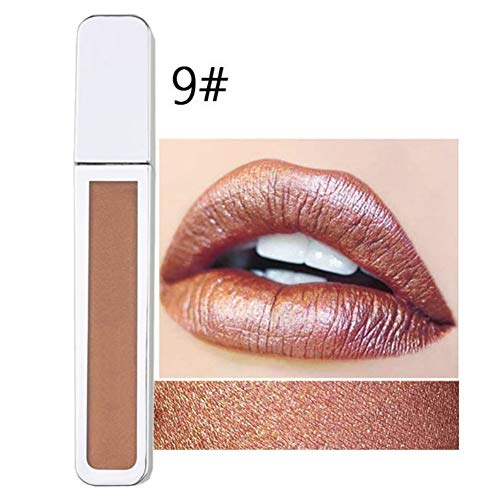 Oyalaiy 10 Colors Metal Lip Gloss Waterproof Long-Lasting Shimmer Luminous Liquid Lipstick Lipgloss - Lip Color Shimmer