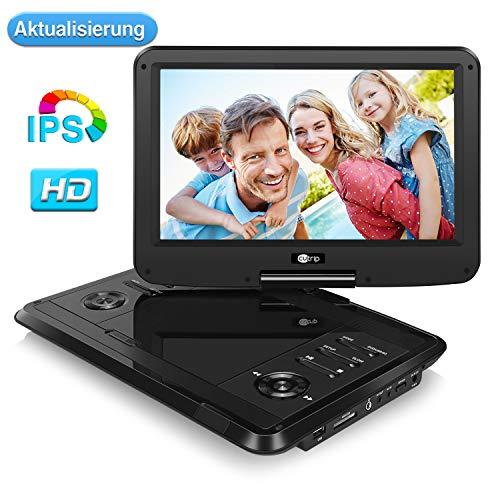 11,6 Zoll IPS Bilschirm Tragbarer DVD Player Full HD 1080P Video 178° Blickwinkel 1920x1080 4-5 Stunden Akku Auto Fershener mit Drehbarer Bildschirm Schwarz