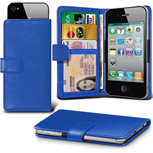 ( Blue 148 x 68.8 mm ) Tasche SchutzHulle fur Vodafone Smart N9 Lite case cover pouch High Quality Thin Faux Leather Spring Clamp Clip on / Adjustable Wallet case cover Skin With Credit/Debit Vodafone Smart N9 Lite case by i-Tronixs