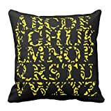 Bags-Online Home Decorative Yellow and Black Scrawl English Alphabet Pillowcase Cushion Cover Design Pillow Cover Collection 16X16 inch
