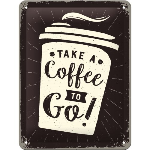 Nostalgic-Art 26228 Coffee To Go  | Retro Blechschild | Vintage-Schild | Wand-Dekoration | Metall | 15x20 cm