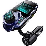 Transmetteur FM Voiture VicTsing Kit de Voiture Bluetooth Mains Libres Sans Fil Chargeur USB de Voiture avec 3.5mm Port Audio, Fente pour carte TF, Écran de 1.44 Pouces pour iPhone 7 7 Plus, Galaxy S7 S6, HUAWEI P9 P8, Sony Xperia, HTC, etc (Bleu)