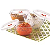 Borosil Glass Mixing Bowl with lid - Set of 3 (500 ML + 900 ML + 1.3L) Oven and Microwave Safe