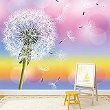Löwenzahn-Blume Wandbild Regenbogen Foto-Tapete Mädchen Kinderzimmer Dekor Erhältlich in 8 Größen Riesig Digital