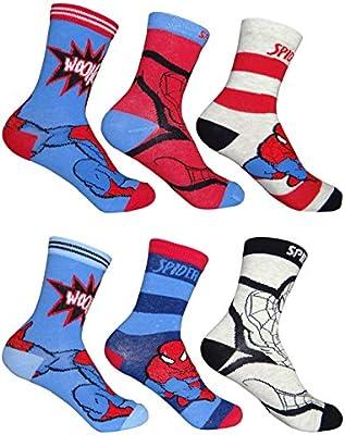Pack de 6 calcetines infantiles de Spiderman, talla 27 - 34